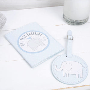 Petit Cheri Passport Holder & Luggage Tag Set Blue