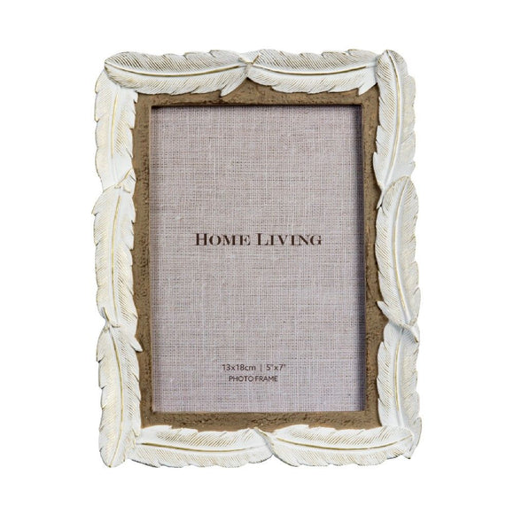 White Resin Feather Photo Frame