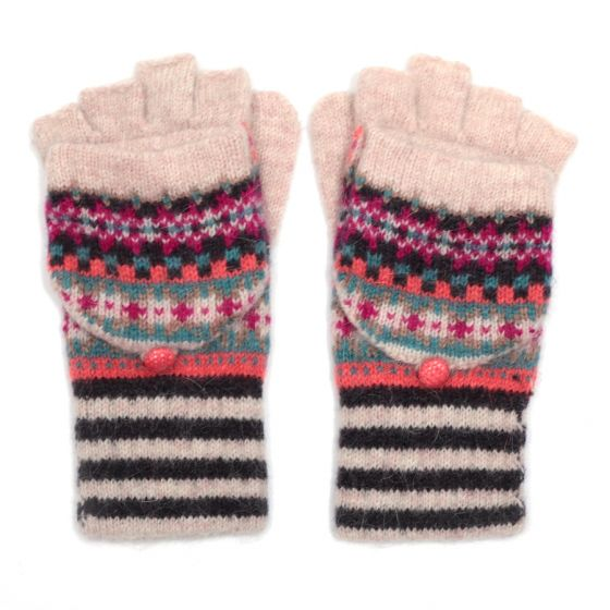 Fairisle Gloves With Mittens Cream