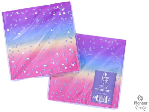 Napkins Paper Three-Ply Rainbow Ombre