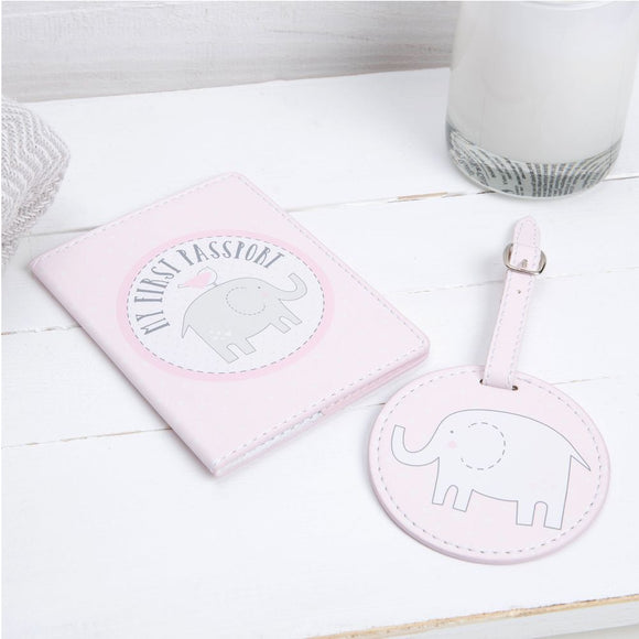 Petit Cheri Passort Holder & Luggage Tag Set Pink