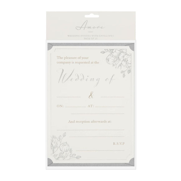 Amore Wedding Day Invites Pack Of 20