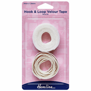Hook & Loop Tape Stick-On Value Pack 1.25mx20mm White