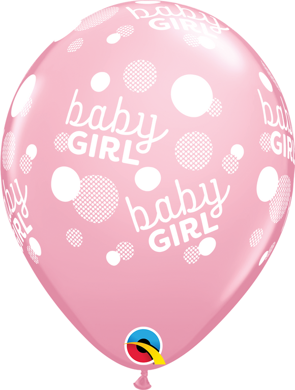 Baby Girl Dots-A-Round Latex Balloons