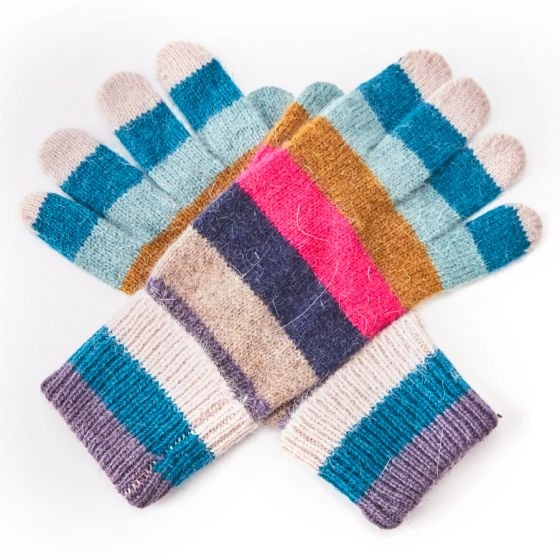 Striped Gloves Blue
