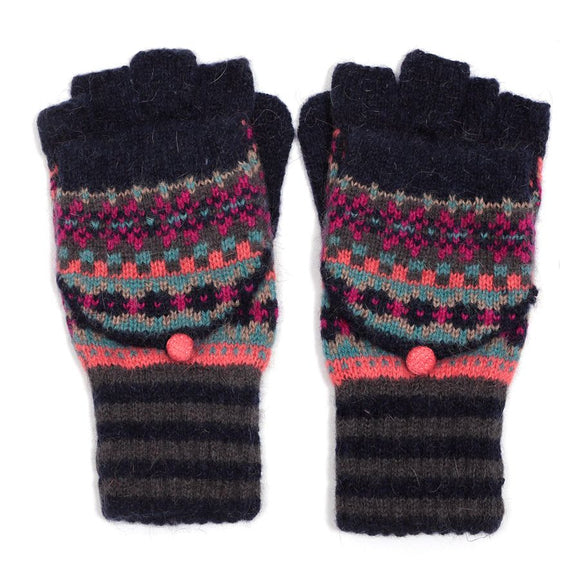 Fairisle Glove With Mitten Navy