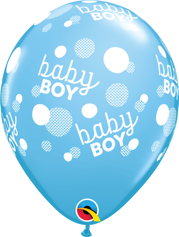 Baby Boy Dots-A-Round Latex Balloons
