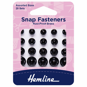 Snap Fasteners Sew On Black Assorted Pack Of 20