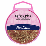 Safety Pins Brass 19mm/23mm 50 Pieces