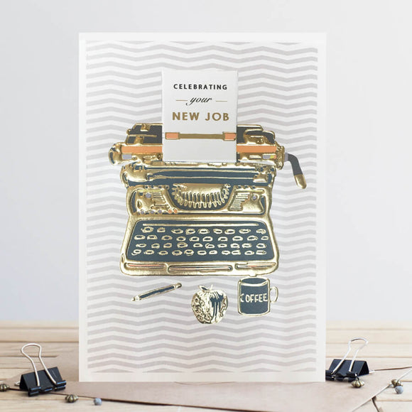 New Job Chevron Typewriter Card
