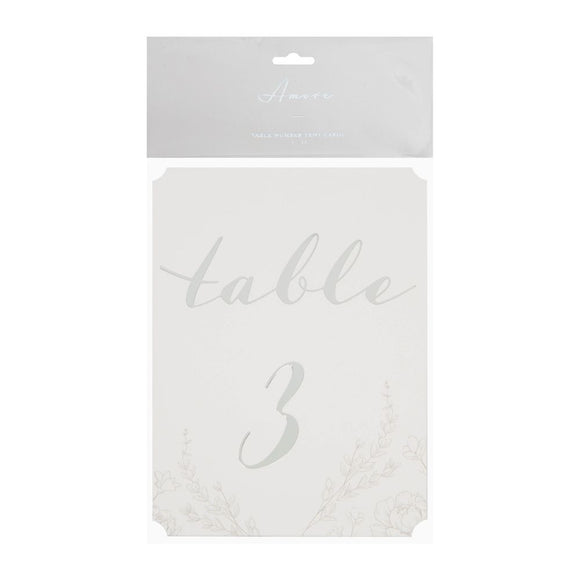 Amore Pack Of 12 Wedding Table Number Cards