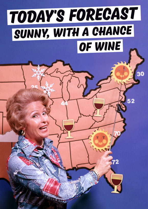 Sunny With A Chance Of Wine Card
