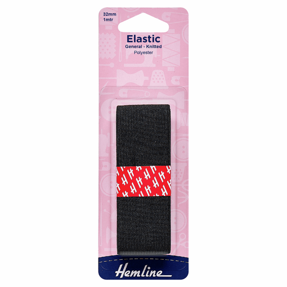 General Purpose Knitted Elastic 1mx32mm Black