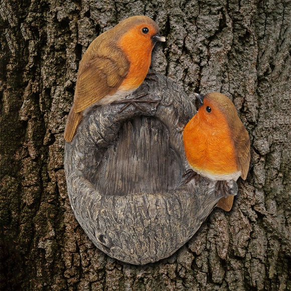 Country Living Hand Painted Robin Bird Feeder