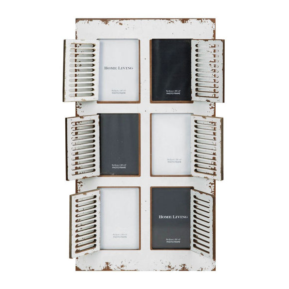 Distressed White 6 Aperture Photo Frame