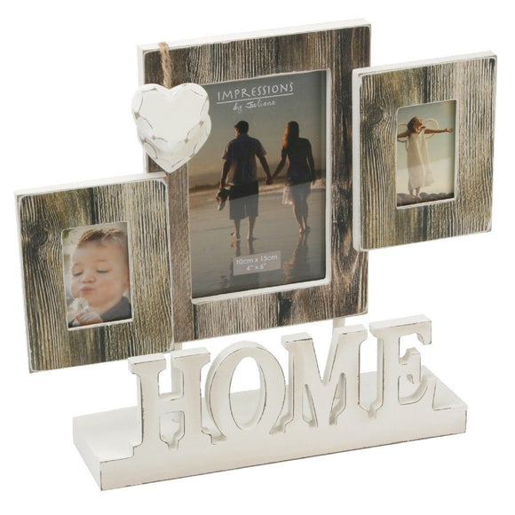 Impressions Distressed Wood Look Triple Aperture Photo Frame Home