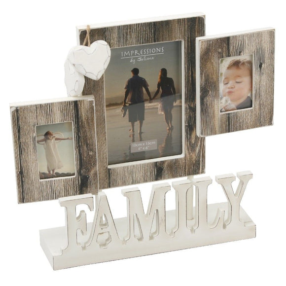Impressions Distressed Wood Look Triple Aperture Photo Frame Family