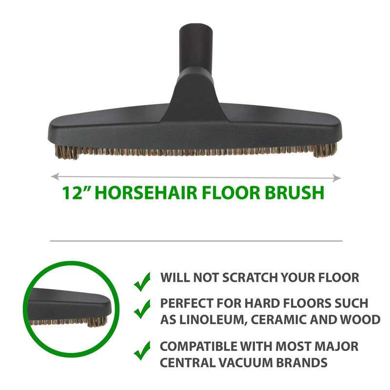 "12"" Horsehair floor brush perfect for hard floors such as linoleum, ceramic and wood"