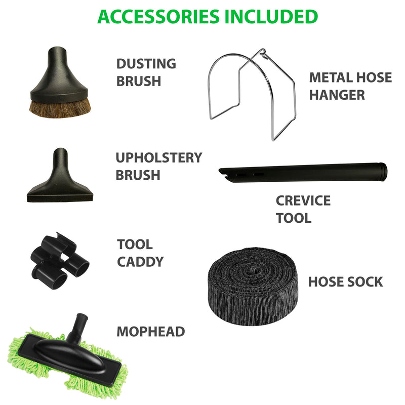 VPC Central Vacuum Accessory Kit with Telescopic Wand and Deluxe Tool Set - Accessories Included
