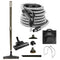 Central Vacuum Accessory Kit - Air Driven - Telescopic Wand with Air Turbine and Deluxe Tools - Black