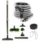 Central Vacuum Accessory Kit - Telescopic wand and mophead - Deluxe Tool Set - Black