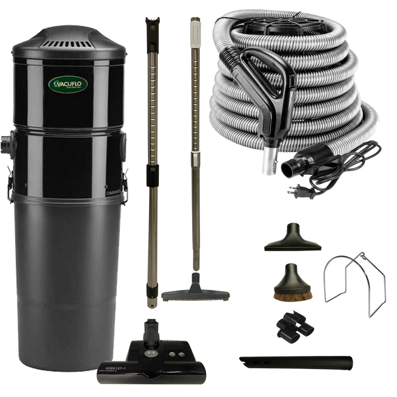 Vacuflo DB8000 Central Vacuum with Premium Electric Package - Black (Black Powerhead)