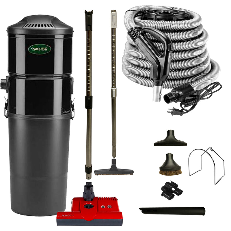 Vacuflo DB8000 Central Vacuum with Premium Electric Package - Black (Red Powerhead)
