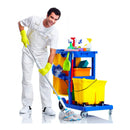 Blue Janitorial Cart