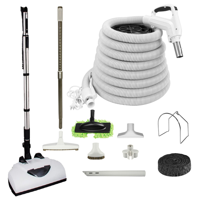 Wessel-Werk Central Vacuum Accessory Kit with EBK341 Electric Powerhead and Bonus Tools - White