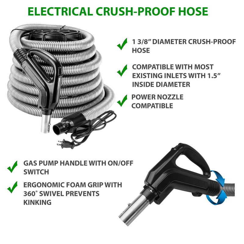 Central Vacuum Electric Crush-Proof Hose with gas pump handle with foam grip