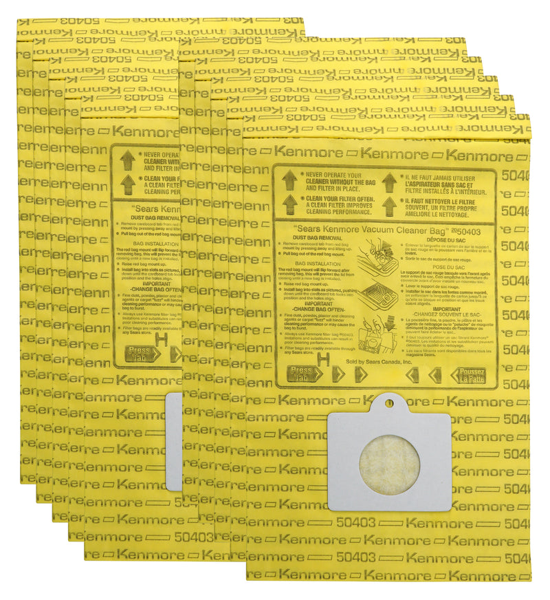 Kenmore Disposable Canister Vacuum Bags - 10 Pack