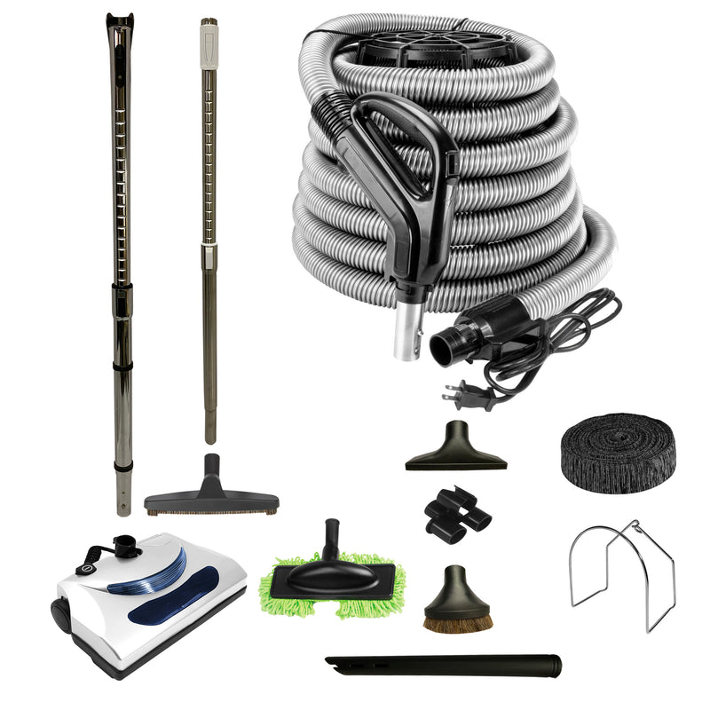 Central Vacuum Accessory Kit with PN11 Electric Power Nozzle and Deluxe Tool Set - Black