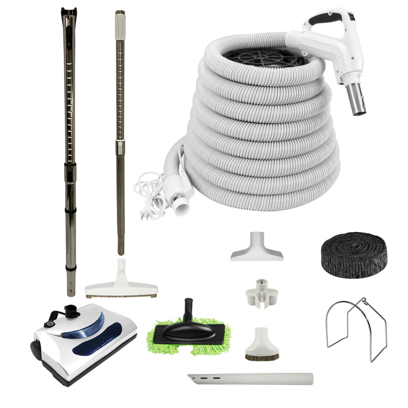 Central Vacuum Accessory Kit with PN11 Electric Powerhead and Deluxe Tool Set - White