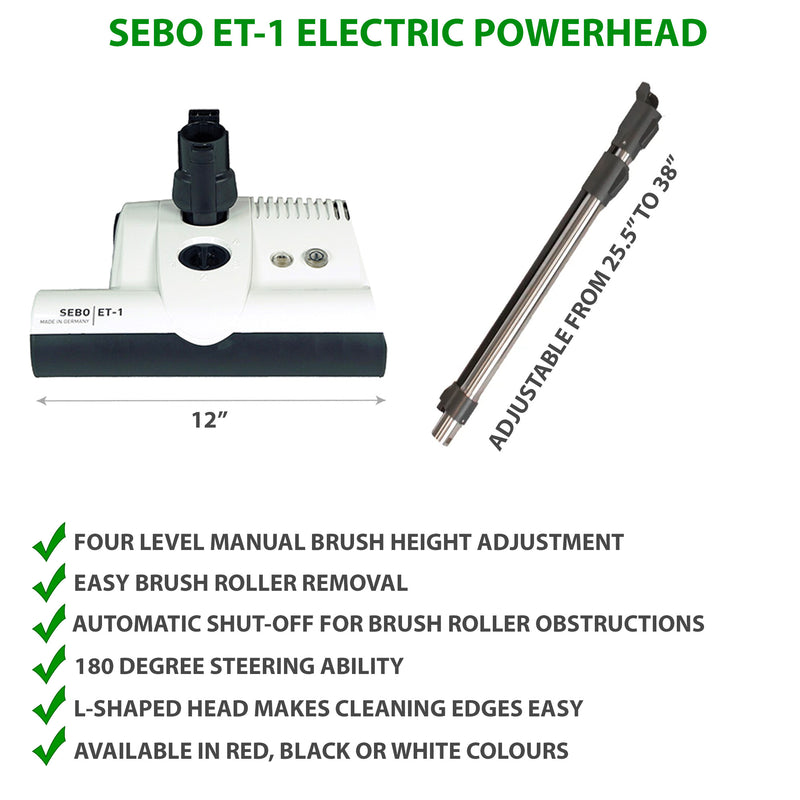 SEBO ET-1 Electric Power Head with Adjustable Wand