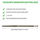 Telescopic Wand with Button Lock and Thumb Saver
