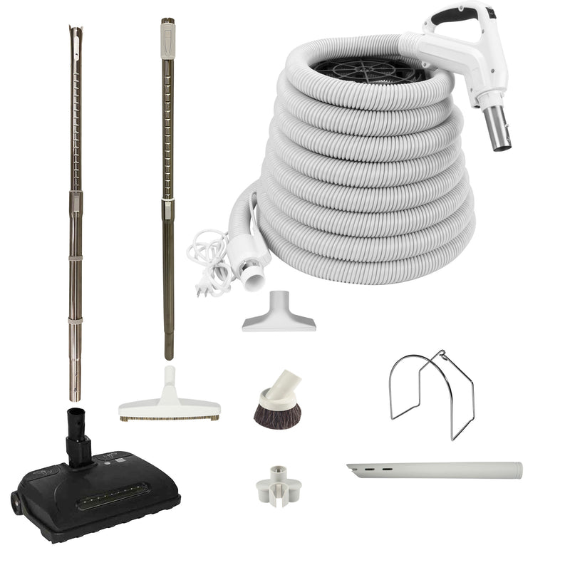 VPC Central Vacuum Accessory Kit with Telescopic Wand and Deluxe Tool Set - White