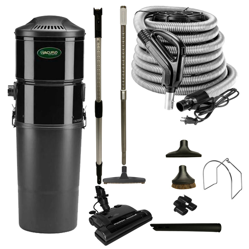 Vacuflo DB5000 Central Vacuum with Power Essentials Package - Black