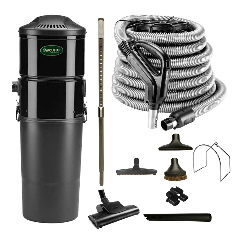 Vacuflo DB7000 Central Vacuum With Rug and Floor Package - Black