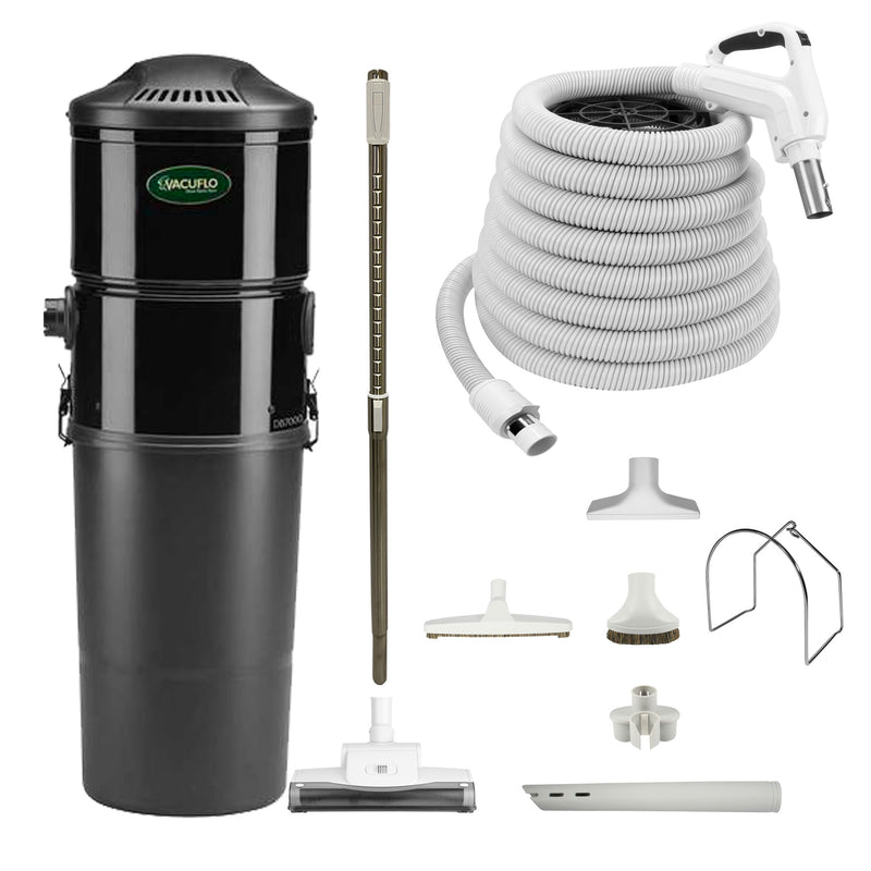 Vacuflo DB7000 Central Vacuum With Rug and Floor Package - White