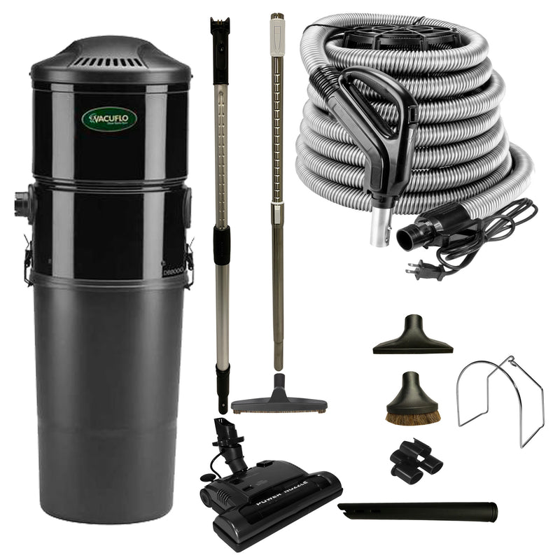 Vacuflo DB8000 Central Vacuum with Power Essentials Package - Black
