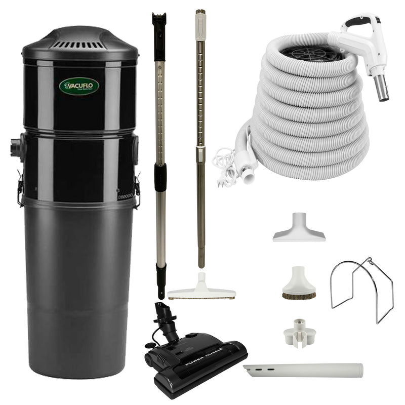 Vacuflo DB8000 Central Vacuum with Power Essentials Package - White