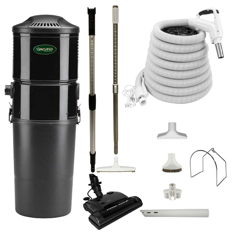Vacuflo DB9000 Central Vacuum with Power Essentials Package - White