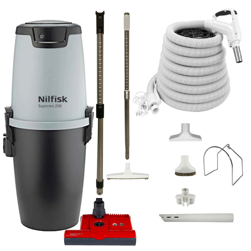 Nilfisk Supreme 250 Central Vacuum with Red SEBO ET-1 Powerhead and Supreme Package - White