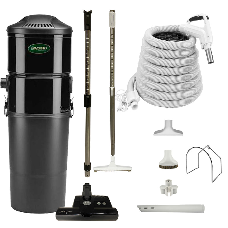Vacuflo DB8000 Central Vacuum with Premium Electric Package - White (Black Powerhead)