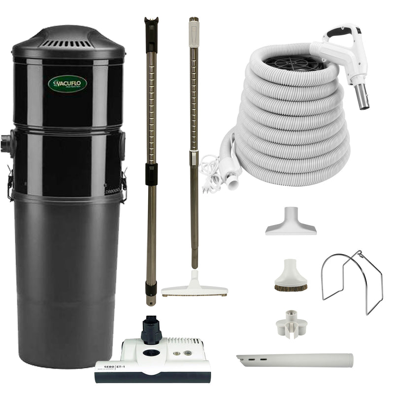 Vacuflo DB8000 Central Vacuum with Premium Electric Package - White (White Powerhead)
