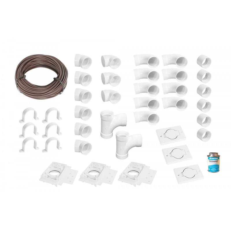 Installation Kit for Central Vacuum - 3 Inlets with Accessories and Wall Mount Valves