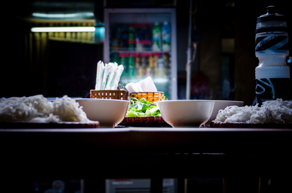 Food on table at night.