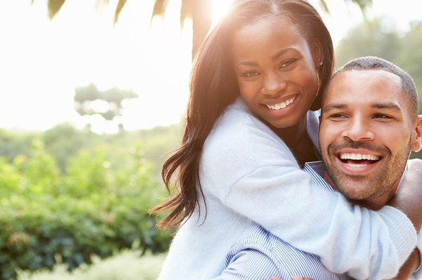 A happy couple with great oral health