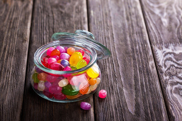 Gummy candy in a jar.