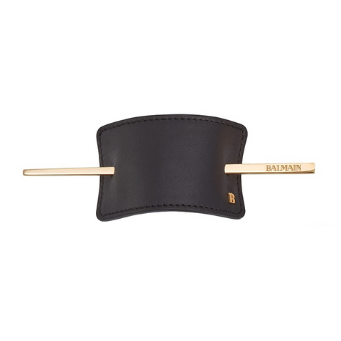 Balmain Genuine Leather Hair Barrette Black